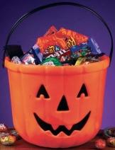 Halloween Trick Or Treat Eimer im Kürbis Design 15 cm hoch 19 cm Durchmesser