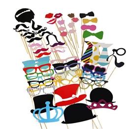 Witzige Partyaccessoires | perfekt für lustige Fotos - Schnurrbart, Hut, Brillen etc